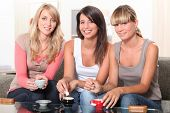 portrait of three women at teatime poster