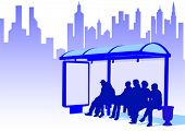 Vector drawing crowds at public transport stop