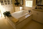 image of bathroom sink  - Upscale bathroom with a modern tub and plants - JPG