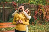 Autumn Happy Couple Of Girl And Man Outdoor. poster