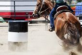 stock photo of barrel racing  - A horse and rider barrel racing at a rodeo - JPG
