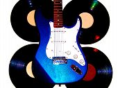 Electric Guitar With Vinyl Records Background