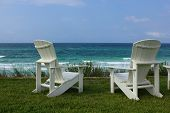 Two Adirondack Beach Chairs With Ocean View