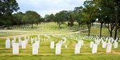 Line of veterans' tombstones at National Cemetery in Marietta, Ga.