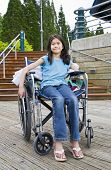 Young Girl In Wheelchair In Front Of Stairs