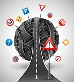 tangle ball of roads with signs vector illustration