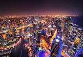 Dubai Marina Skyline During Night. Dubai Marina, United Arab Emirates. poster