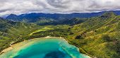 Aerial View Of Mountain Ridges And Coastline In Oahu Hawaii poster