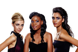image of dark-skin  - Three beautiful women of different races with different makeup and fashion hairstyles over white background - JPG