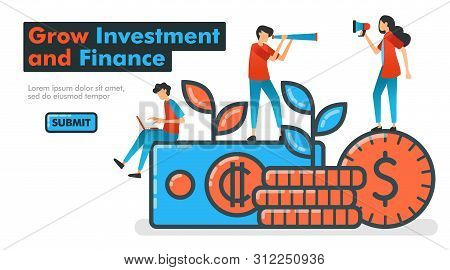 Grow Investment And Finance Line Vector Illustration. Invest Money To Grow Financial Assets And Expe poster