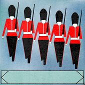 stock photo of guardsmen  - Guardsmen Marching Message for a British Royal event or Jubilee - JPG