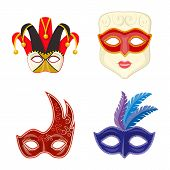 Vector Design Of Carnival And Theatrical Icon. Collection Of Carnival And Mystery Vector Icon For St poster