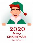 Merry Christmas And Happy New Year Greeting Card With Handsome Santa Claus Helper Elf Standing Behin poster