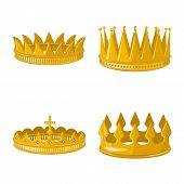 Isolated Object Of Monarchy And Gold Symbol. Set Of Monarchy And Heraldic Stock Symbol For Web. poster