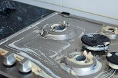 Washing Process Of Gas Cooker.close-up Of Dirty Gas Cooker Covered With Chemical Washing Liquid. Hou poster