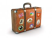 Travel Suitcase with stickers. Clipping path included. Computer generated image.
