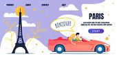Car Trip Voyage To Paris Advertising Landing Page. Happy Cartoon Man And Woman Characters, Couple In poster
