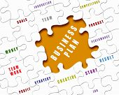 Puzzle pieces with business terms written on them