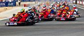 DUBAI, UAE - OCTOBER 23: Large group of kart racers begins the international racing competition on O