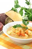 stock photo of rutabaga  - boiled rutabaga soup with beef fresh carrots potatoes and parsley - JPG