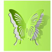 Vector eps10 paper cut- out butterfly illustration with smooth vector shadows