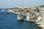 Bonifacio old town on sea cliff, Corsica, France