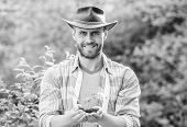 Muscular Ranch Man In Cowboy Hat Care Plants. Eco Farm Worker. Earth Day. Happy Earth Day. Eco Livin poster