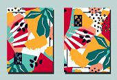 Trendy Cover With Tropical Leaves And Abstract Geometric Shapes. Modern Collage Style. Two Floral Ve poster