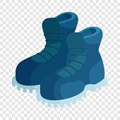 Pair Of Blue Boots Icon. Cartoon Illustration Of Pair Of Boots Vector Icon For Web poster