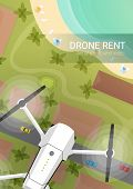 Drone Flying Over City And Sea Or Beach. Aerial Drone Taking Photography And Video. poster