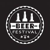 Beer Fest Hand Drawn Flat Color Vector Icon. Brew Festival Stamp Beer Bottle Silhouette Design Eleme poster