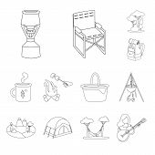 Isolated Object Of Hobby And Travel Symbol. Set Of Hobby And Tourism Stock Symbol For Web. poster