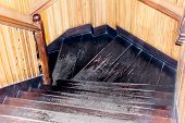 Modern Style Staircase With Wooden Steps And Handrail. Spiral Design Hardwood Material Stairs Wood S poster