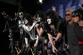 LOS ANGELES - MAR 20:  KISS, Vince Neil, Nikki Sixx  at the Kiss and Motely Crue Tour Press Conferen