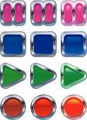Brillante metálico botones del Panel de Control que brilla intensamente