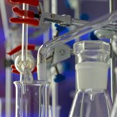 Glass instruments in the laboratory of chemical synthesis poster