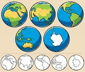 stock photo of uncolored  - Cartoon illustration of planet Earth viewed from 5 different angles - JPG
