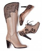 Beige knee-high boot, ankle-high boot and pump