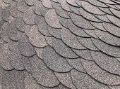 Roofing, Made Of Shingles. Texture Of Shingles. Diagonal Photo Of Soft Shingles Tiles. Texture Of Th poster