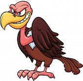 Evil looking cartoon vulture. Vector illustration with simple gradients. All in a single layer.