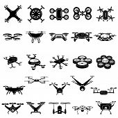 Drone Icons Set. Simple Set Of Drone Icons For Web Design On White Background poster
