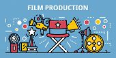 Film Production Banner. Outline Illustration Of Film Production Banner For Web Design poster