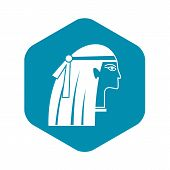 Egyptian Girl Icon. Simple Illustration Of Egyptian Girl Icon For Web poster