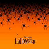 Halloween Theme Many Black Spiders On An Orange Background Text Happy Halloween Creative Design Web  poster