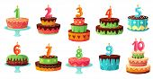 Cartoon Birthday Cake Numbers Candle. Anniversary Candles, Celebration Party Cakes. Kindergarten Par poster