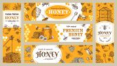 Honey Banner. Healthy Sweets, Natural Bees Honey Pot And Bee Farm Products Banners. Bees Wax Or Hone poster
