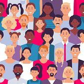People Crowd Pattern. Young Multiethnic Men And Women, People Group. Multicultural Togetherness Unit poster