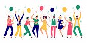 People Celebrating. Young Men And Women Dance At Celebration Party, Joyful Balloons And Confetti. Ha poster