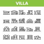Luxurious Villa, Cottage Linear Icons Set. Fashionable House, Villa Thin Line Contour Symbols Pack.  poster