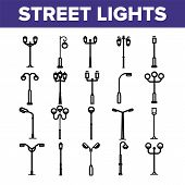 Street Lights Linear Icons Set. Streetlights Thin Line Contour Symbols Pack. City Illumination Picto poster